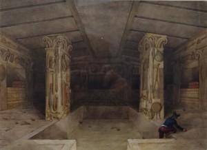 Samuel J. Ainsley - Cerveteri Interno della Tomba dei Rilievi (1843).  Pittore, disegnatore e acquarellista, Ainsley accompagnò George Dennis durante il suo viaggio in Etruria