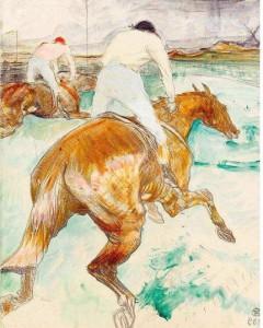 Henry de Toulouse Lautrec, il Jockey, 1899. A destra Divan Japonais, 1892-1893