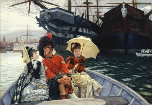 Portsmouth Dockyard c.1877 James Tissot 1836-1902 Bequeathed by Sir Hugh Walpole 1941 http://www.tate.org.uk/art/work/N05302